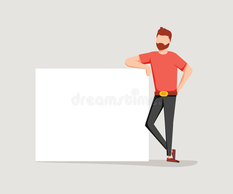 Bearded man is leaning on a blank poster. A place to post your advertisement or other information. Advertising. Vector illustration in cartoon style. Business royalty free illustration