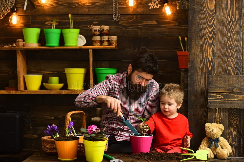 Bearded man and little boy child love nature. Flower care watering. Soil fertilizers. Father and son. Fathers day. happy. Bearded men and little boy child love royalty free stock photography