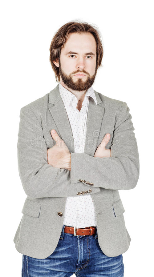 Bearded man looking at camera and keeping arms crossed. human e royalty free stock photography