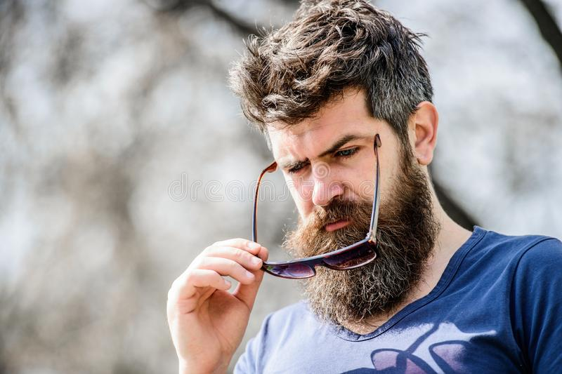 Bearded man with lush hair. Free and happy time. brutal male with perfect style. Mature hipster with beard. male summer stock photo