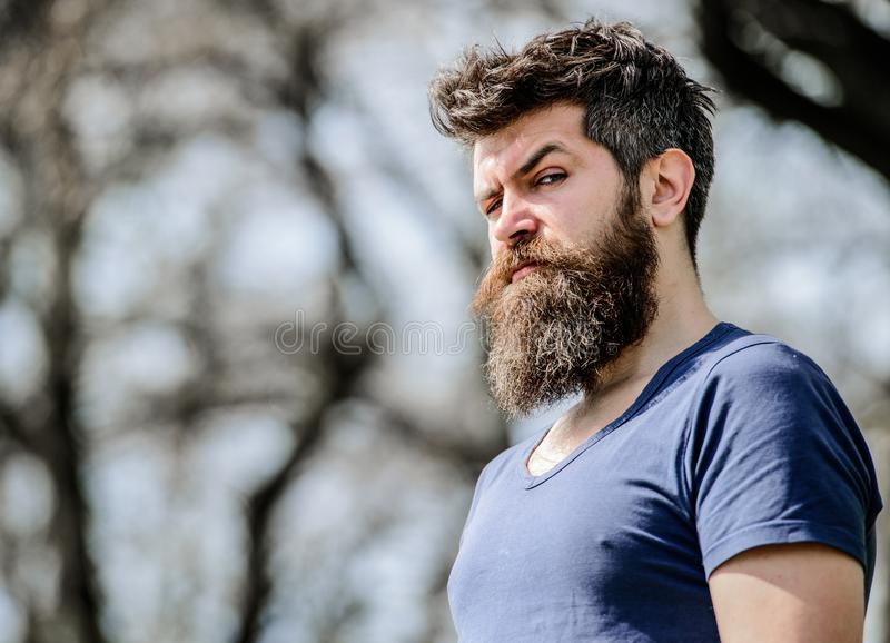 Bearded man with lush hair. Free and happy time. male fashion and beauty. brutal male with perfect style. Mature hipster royalty free stock photo