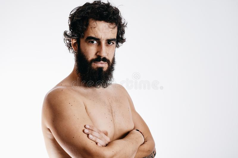 Bearded man gesturing royalty free stock photos