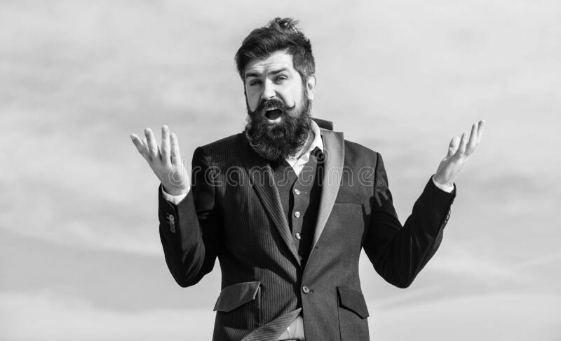 Bearded man. Mature hipster with beard. brutal caucasian hipster with moustache. Future success. Agile business royalty free stock photos