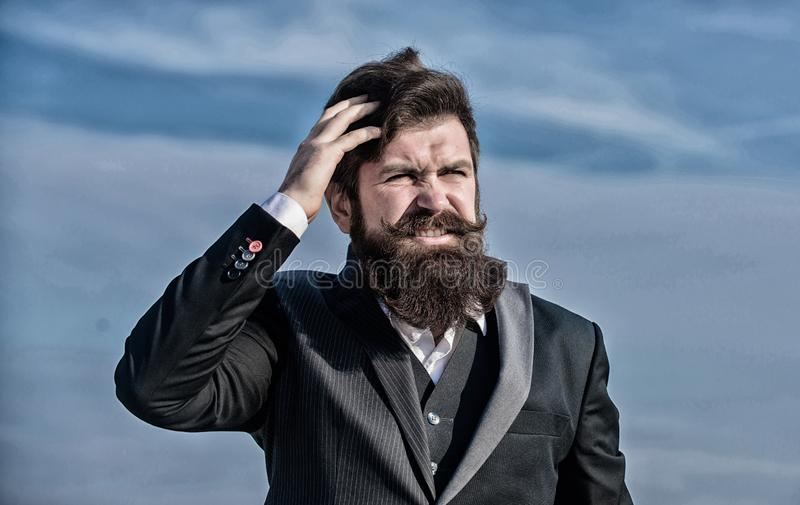 Bearded man. Mature hipster with beard. Businessman against the sky. Future success. Male formal fashion. brutal royalty free stock photo