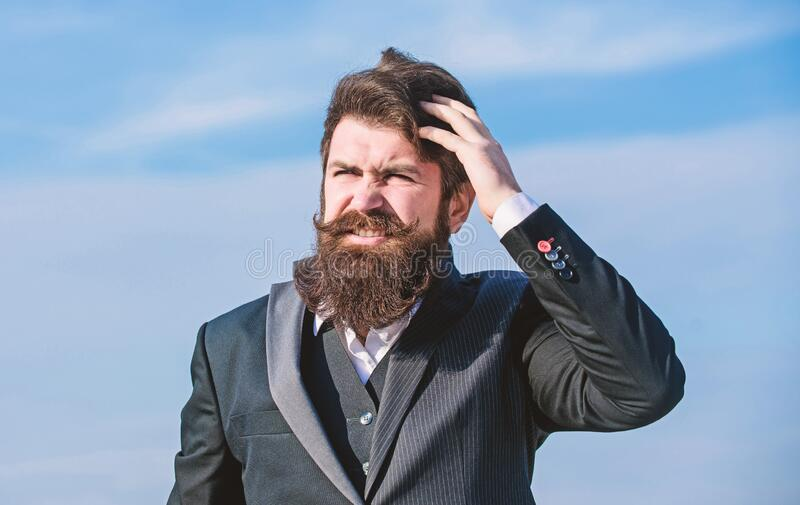 Bearded man. Mature hipster with beard. Businessman against the sky. Future success. Male formal fashion. brutal stock photography
