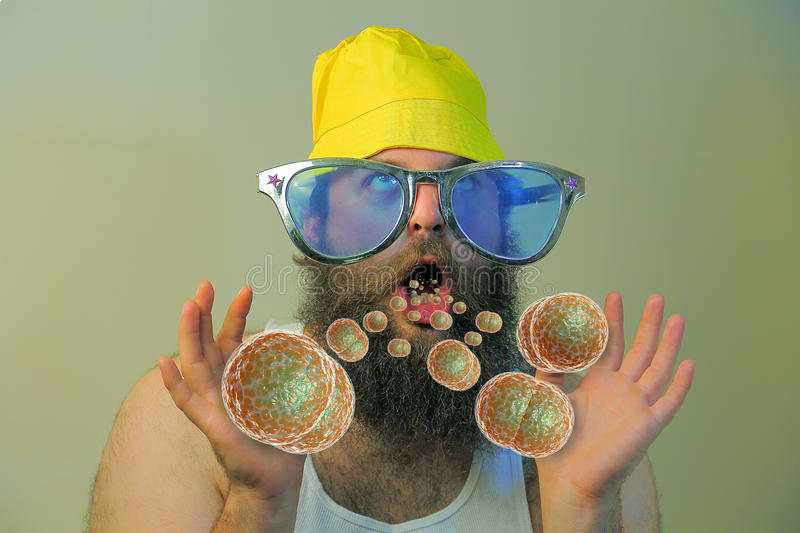 Bearded Man Mouth Bacteria royalty free stock photography