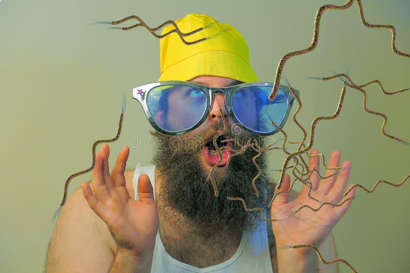 Bearded Man Mouth Bacteria stock photo