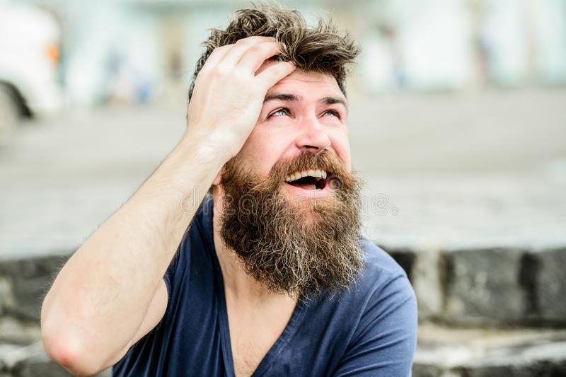 Bearded man outdoor. male fashion and beauty. brutal male with perfect style. bearded man with lush hair. Free and happy stock photo
