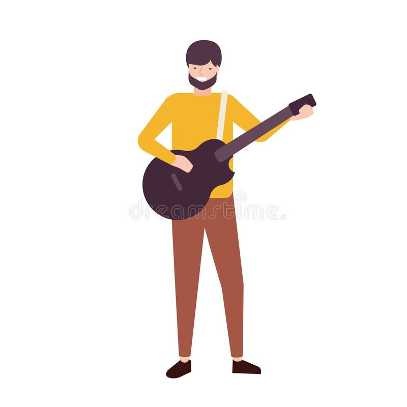 Bearded man playing guitar and singing. Male musician, singer or guitarist performing song on stage. Songster or musical stock illustration