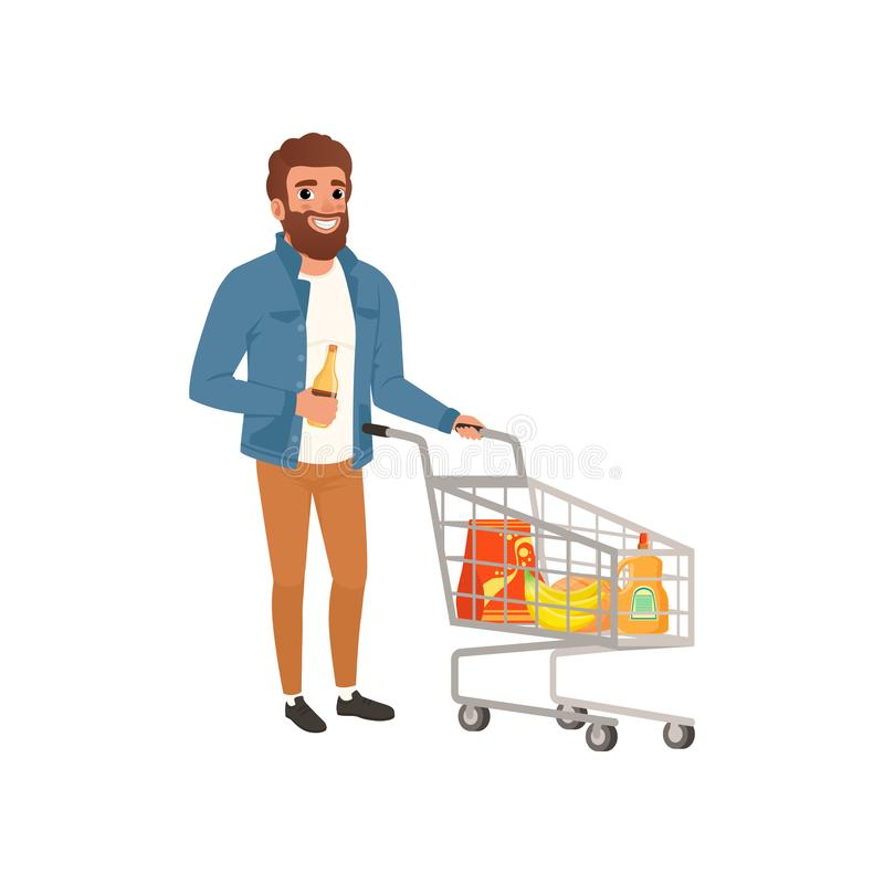 Bearded man pushing shopping cart with groceries. Cartoon character of young guy at supermarket. Flat vector design vector illustration