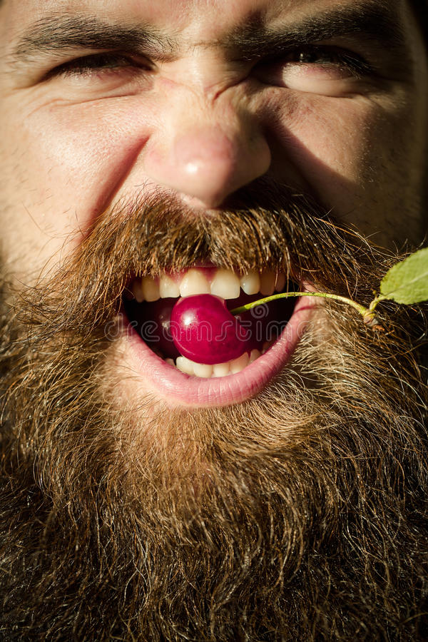 Bearded man with red cherry stock photos
