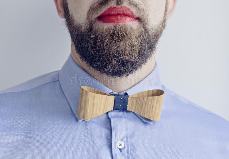 Bearded Man with Red Lips royalty free stock images