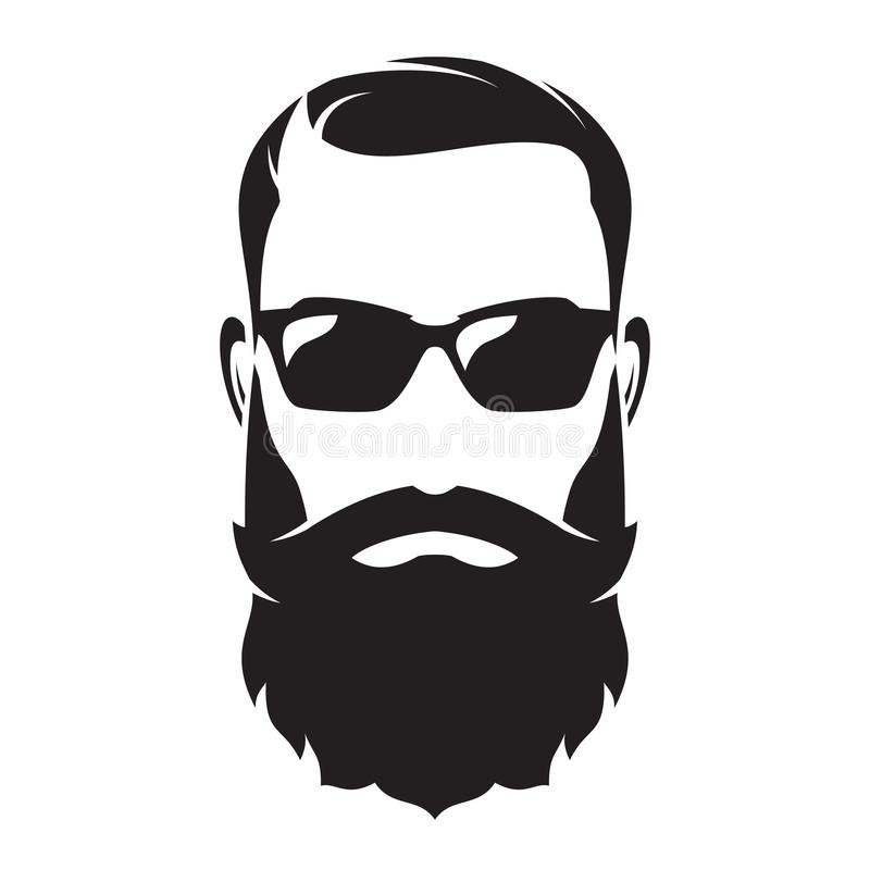 Bearded man s face, hipster character. Fashion silhouette, avata. R, emblem, icon label Vector illustration royalty free illustration