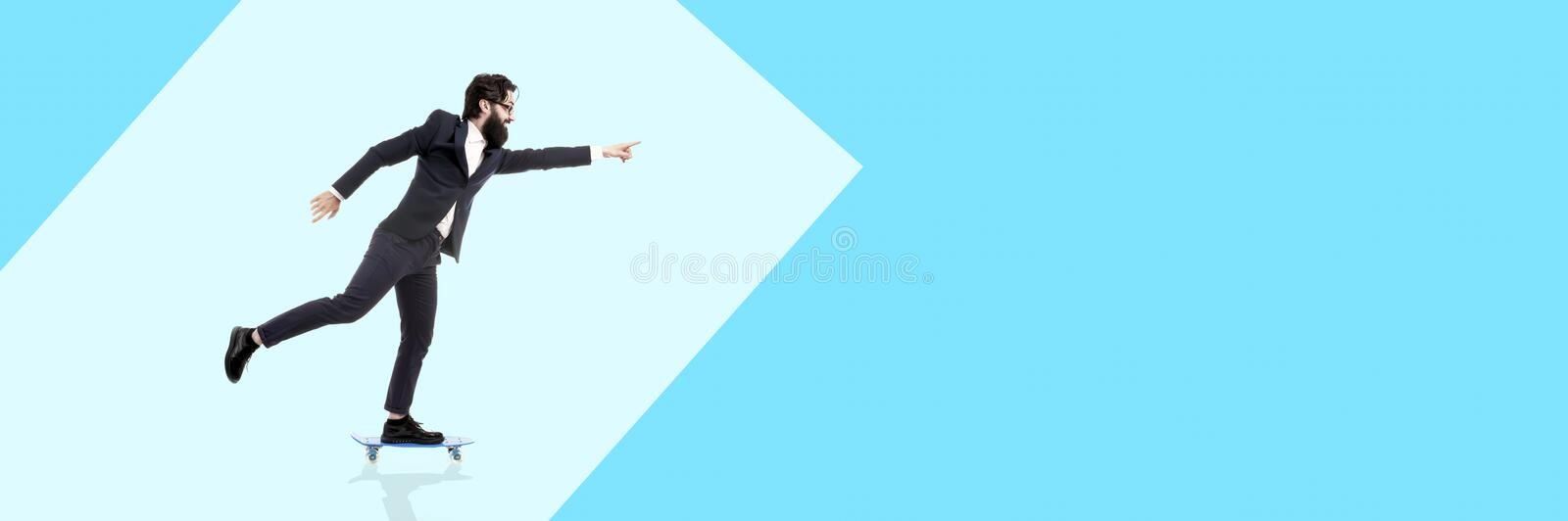 Bearded man and skateboard stock images