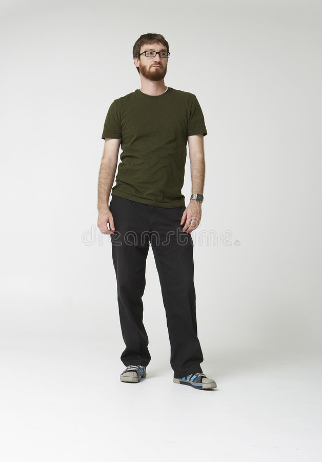 Download Bearded man standing 01 stock photo. Image of black, glasses - 2303076