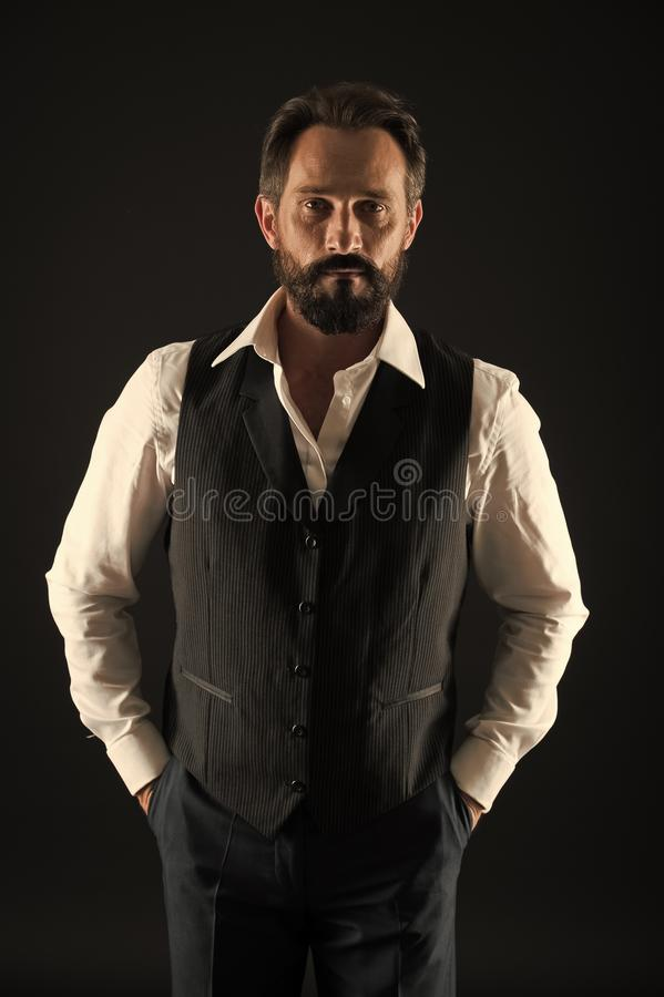 Bearded man. stylish businessman in suit. business fashion. Mature hipster with beard. Facial care. Male fashion. brutal. Caucasian hipster with moustache stock photography
