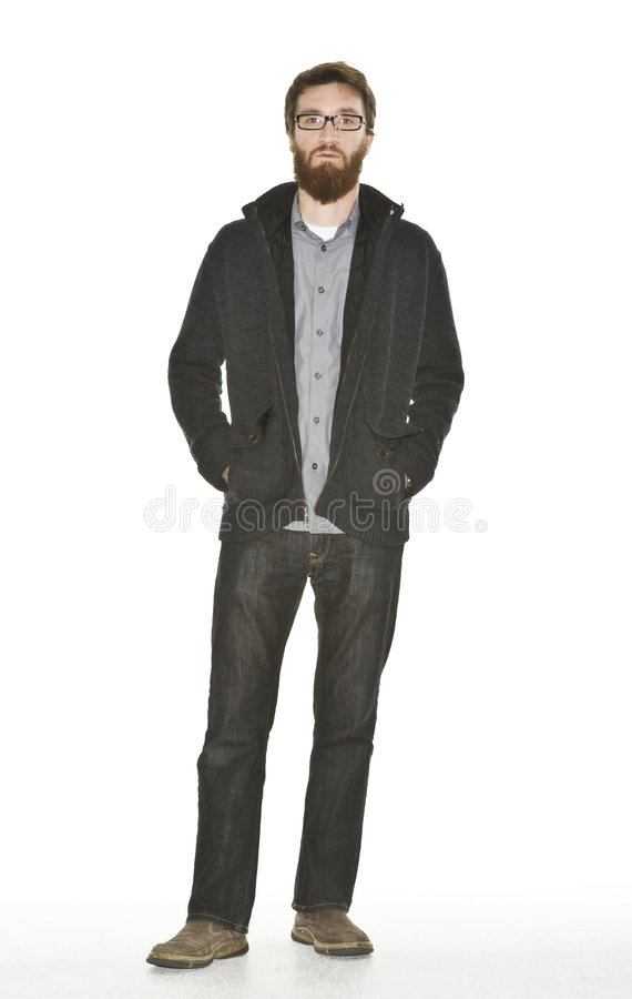 Bearded man with sweater jacket stock images