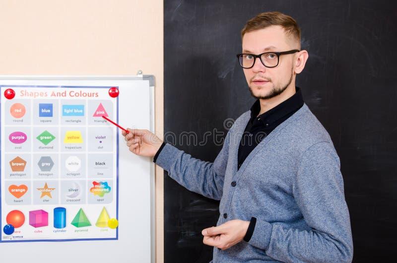 Bearded man a teacher at the blackboard royalty free stock photos
