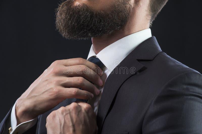 Bearded man tying up his necktie stock image