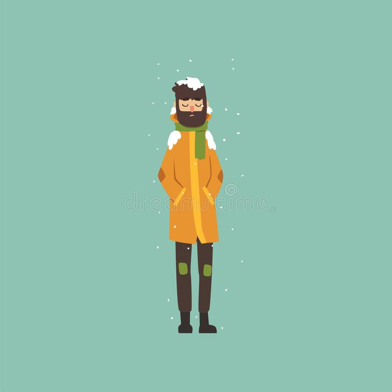 Bearded man in warm clothes freezing and shivering on winter cold vector Illustration. Flat style stock illustration