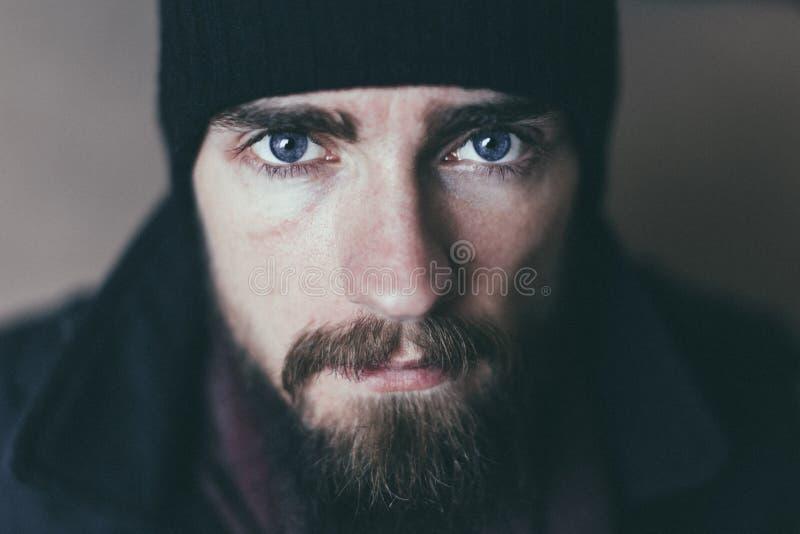 Bearded Man Wearing Black Knit Cap stock photo