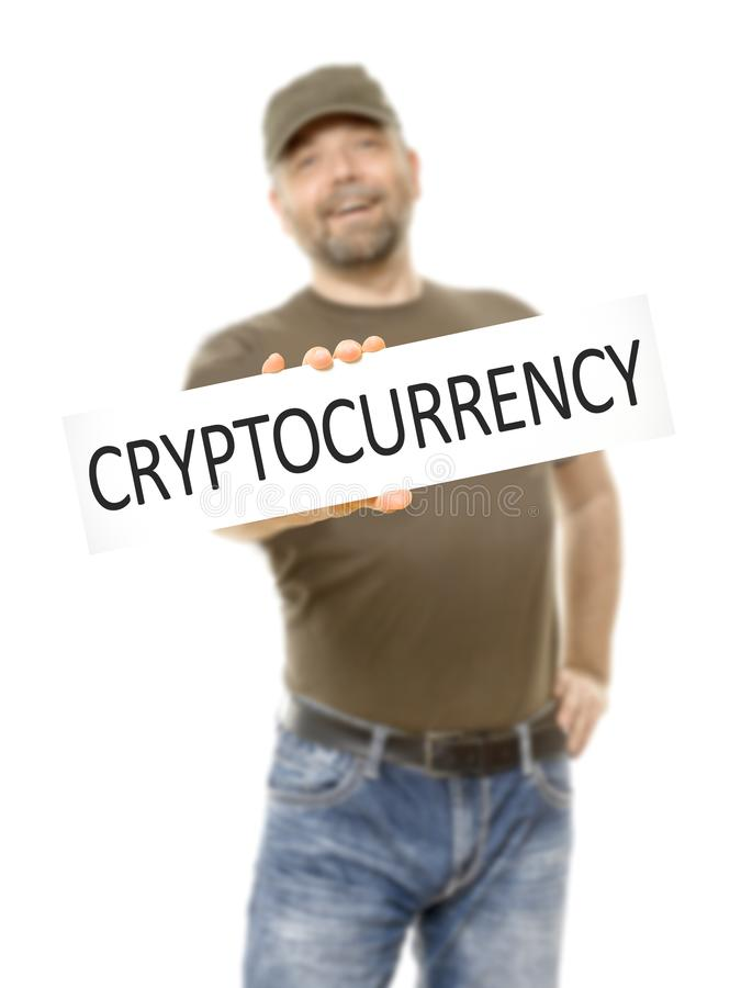 bearded man white board cryptocurrency stock photo