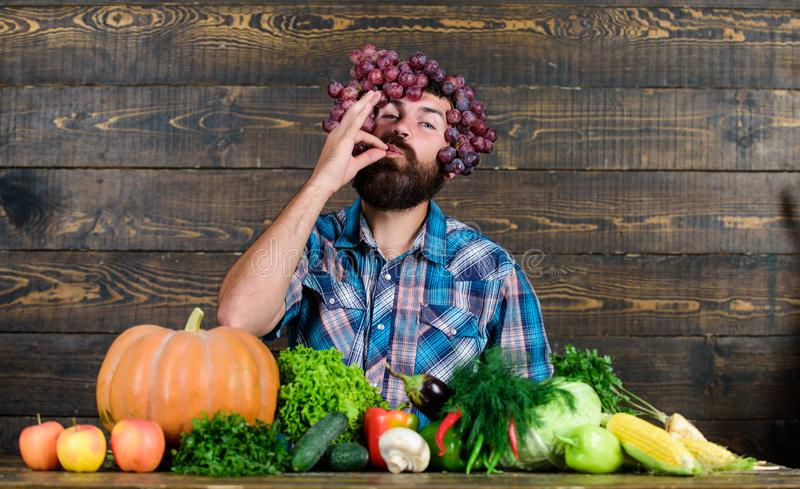 Bearded mature farmer. organic and natural food. happy halloween. seasonal vitamin food. Useful fruit and vegetable. man. Chef with rich autumn crop. harvest royalty free stock images