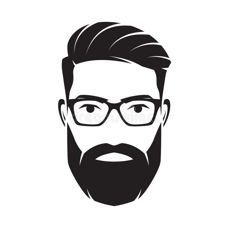 Bearded men face, hipster character. Vector illustration. Bearded men face, hipster character. Fashion silhouette, avatar, emblem, icon label Vector royalty free illustration