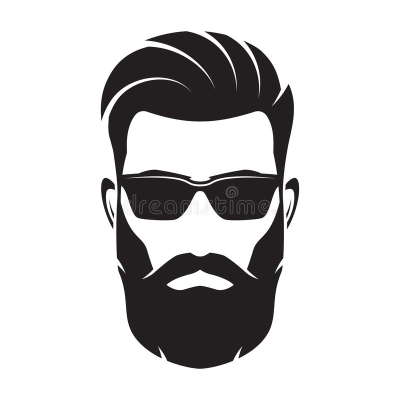 bearded men face hipster character vector illustration