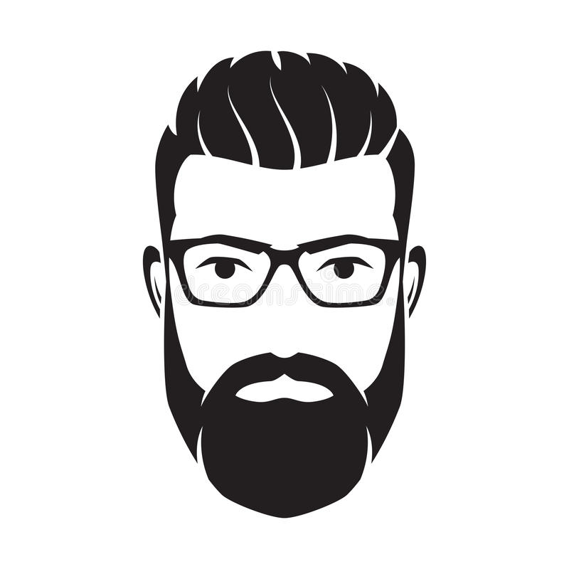 Bearded men face, hipster character. Vector illustration. Bearded men face, hipster character. Fashion silhouette, avatar, emblem, icon label Vector vector illustration