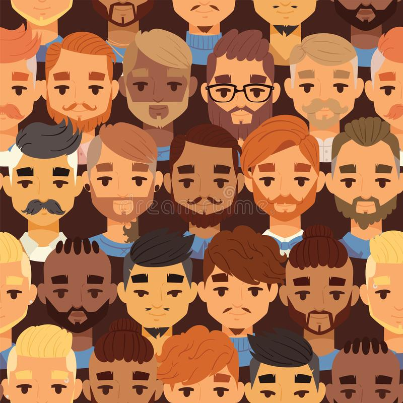 Bearded men faces hipsters head with different haircuts vector illustration. Haircuts, beard, mustache, glasses, goatee. Bearded men faces hipsters head style stock illustration