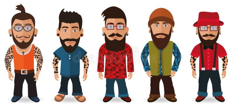 Bearded Men (Hipsters). Vector illustration of bearded men group (hipsters stock illustration