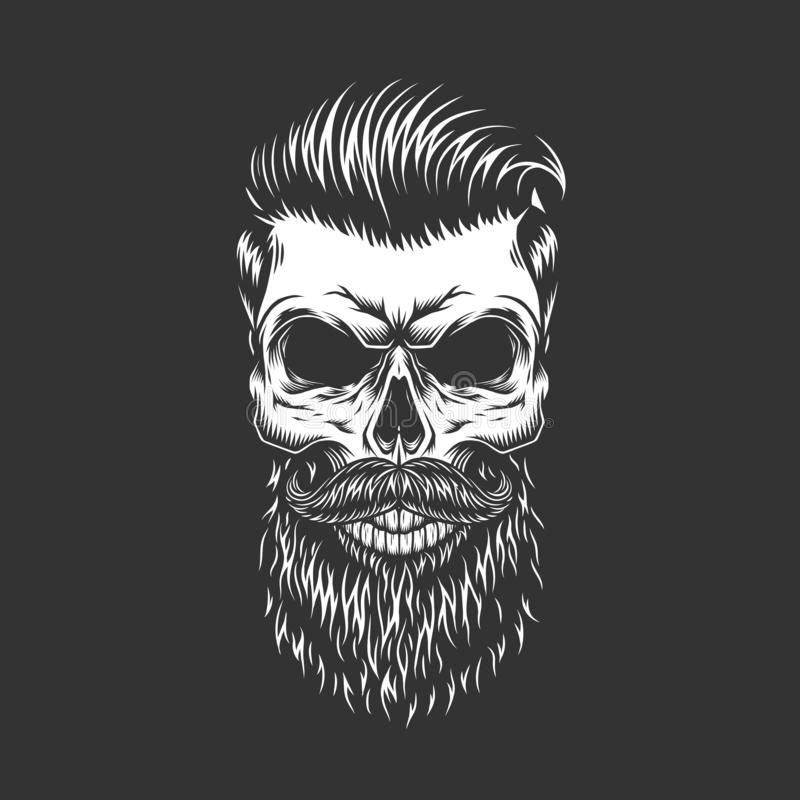 Bearded and mustached hipster skull. With trendy hairstyle in monochrome vintage style isolated vector illustration royalty free illustration