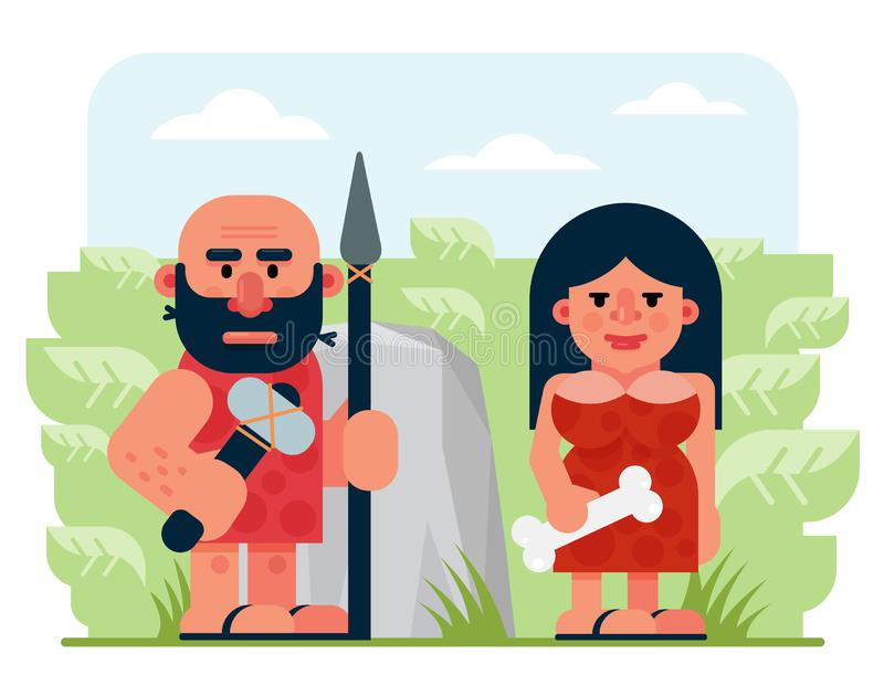 Bearded prehistoric male hunter with spear and hammer and woman with bone standing near rock and bushes in nature stock illustration