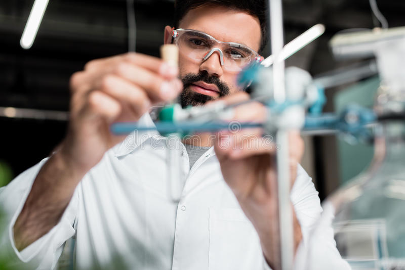 Bearded scientist in protective eyewear making experiment in laboratory. Concentrated bearded scientist in protective eyewear making experiment in laboratory stock image