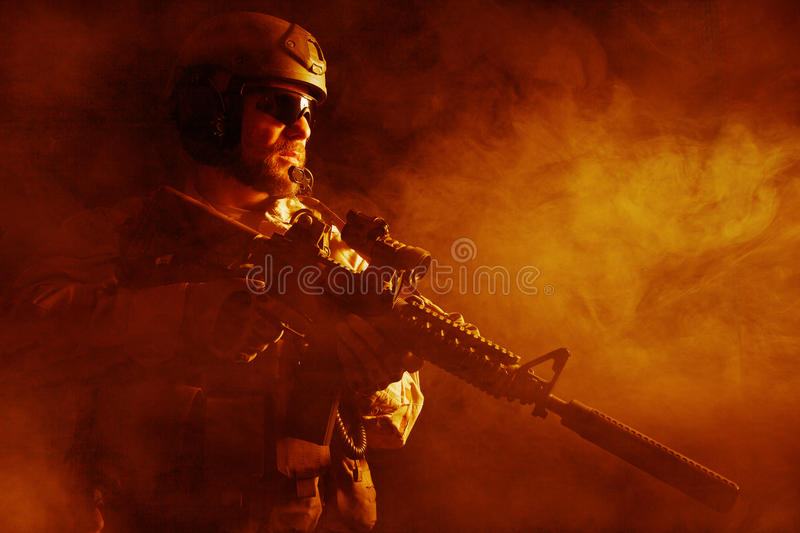 Bearded special forces soldier royalty free stock image