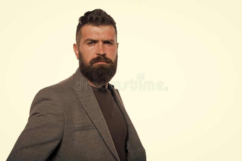 Bearded and stylish. Bearded man. Mature hipster with beard. Confident handsome Brutal man isolated on white. Male stock image