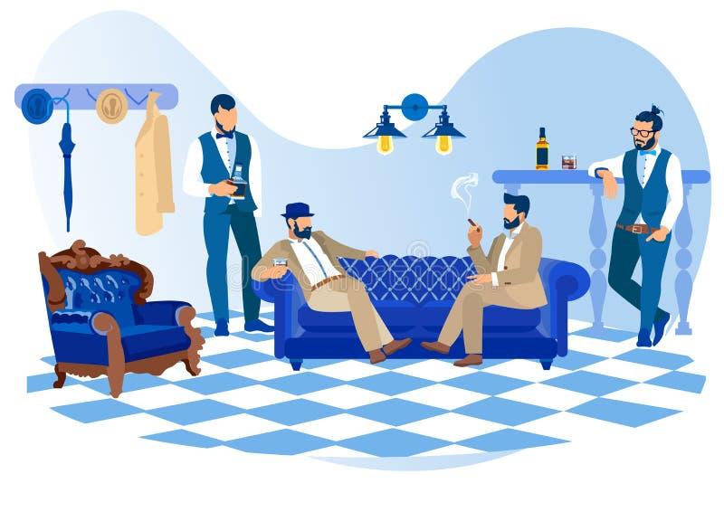 Bearded Stylish Men Smoking Cigars, Drink Alcohol. Bearded Stylish Men in Classic Suits Looking like Gentlemen and Hipsters Smoking Cigars, Drinking Alcoholic vector illustration
