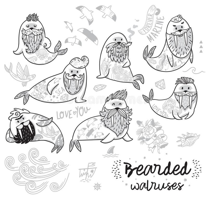 Black and white contour hipster walruses with beards and tattoos in cartoon style. Vector illustration. Bearded walruses set in outline. Ink vector cartoon stock illustration