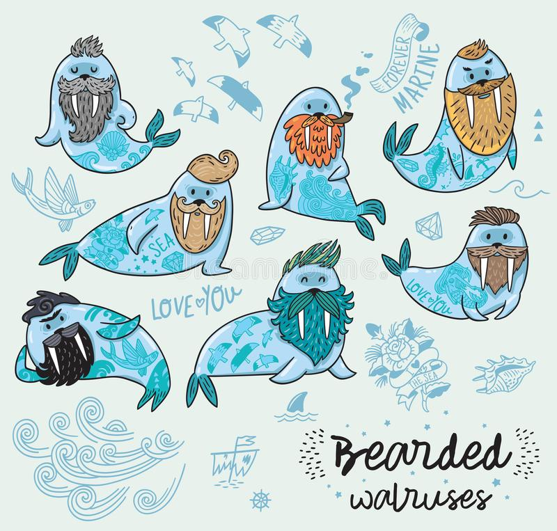 Hipster walruses with beards and tattoos in cartoon style. Vector illustration. Bearded walruses set. Vector cartoon characters of funny walruses with different stock illustration