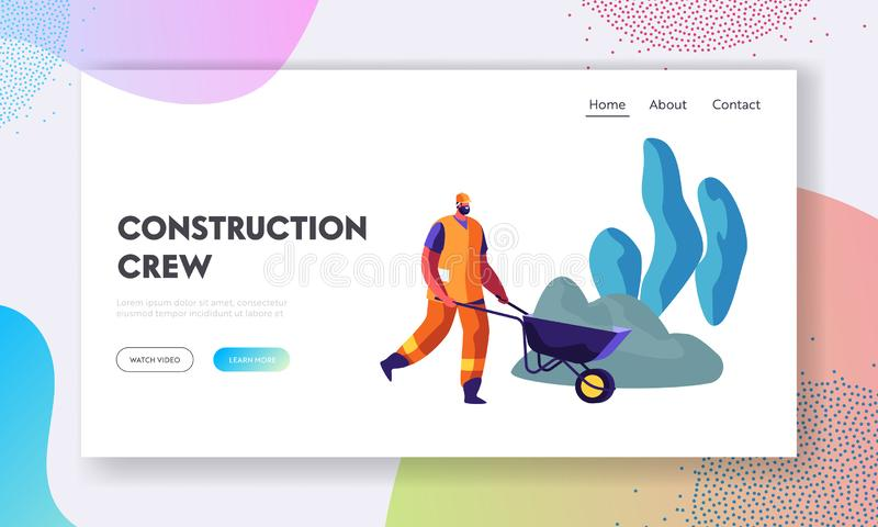 Bearded Worker in Helmet and Orange Uniform Pushing Wheelbarrow on Road Repair or Building Construction Process. Roadworks vector illustration