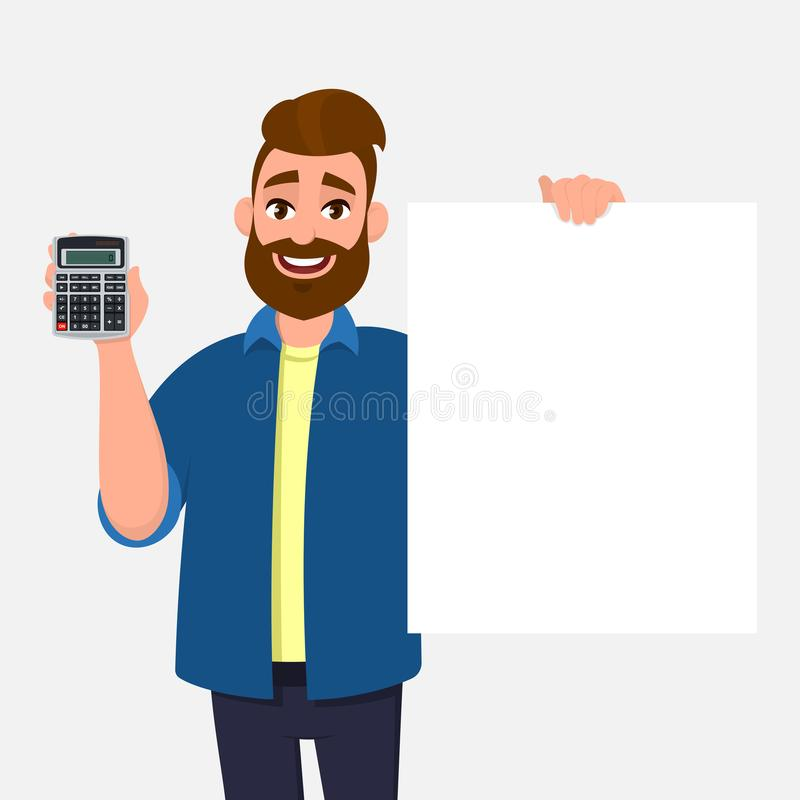 Bearded young man showing or holding digital calculator device and empty white board, blank poster, sheet with copy space in hand. Modern lifestyle, latest vector illustration