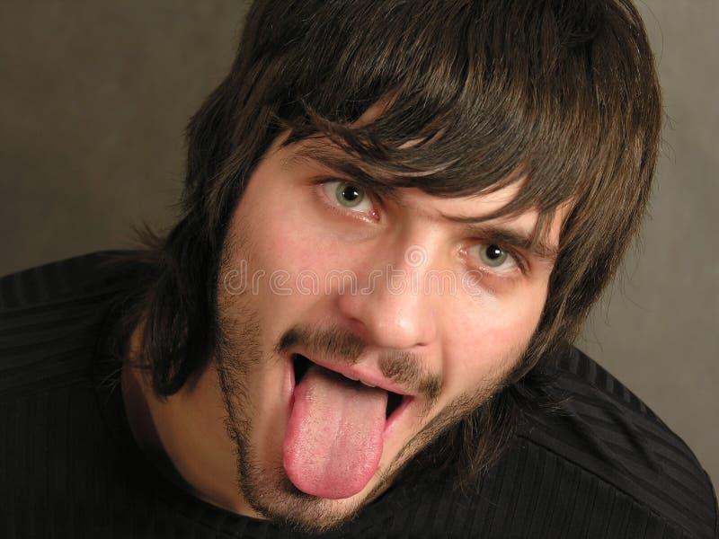 Beardman con la bocca immagine stock