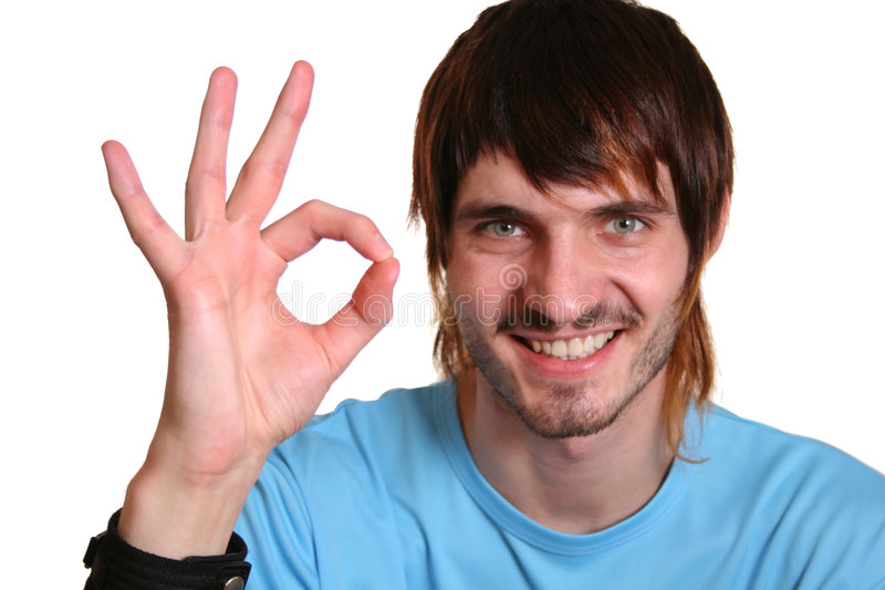 Beardman mit okayzeichen stockfoto