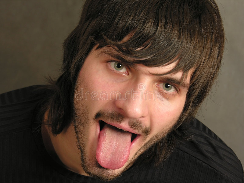 Beardman with mouth. Beardman in black with mouth stock image