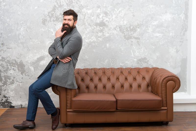 Beardoholic. Fashionable businessman or manager. Boss with fashionable beard and trendy hairstyle. Bearded man in. Fashionable style. Bearded and fashionable stock image