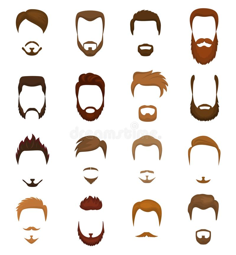 Beards vector portraite of bearded man with male haircut in barbershop and barbed mustache on hipsters face illustration. Set of barber hairstyle isolated on royalty free illustration