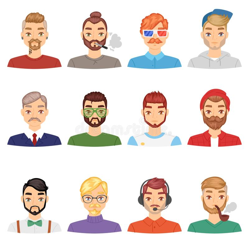 Beards vector portraite of bearded man with male haircut in barbershop and barbed mustache on hipsters face illustration. Set of people with barber hairstyle royalty free illustration