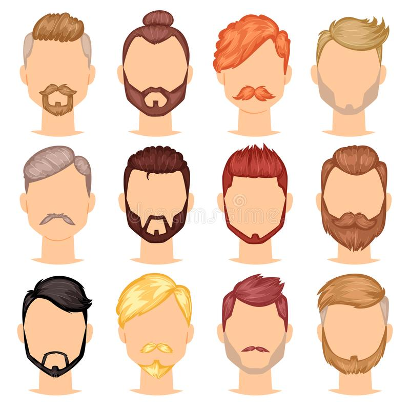Beards vector portraite of bearded man with male haircut in barbershop and barbed mustache on hipsters face illustration. Set of barber manlike hairstyle stock illustration