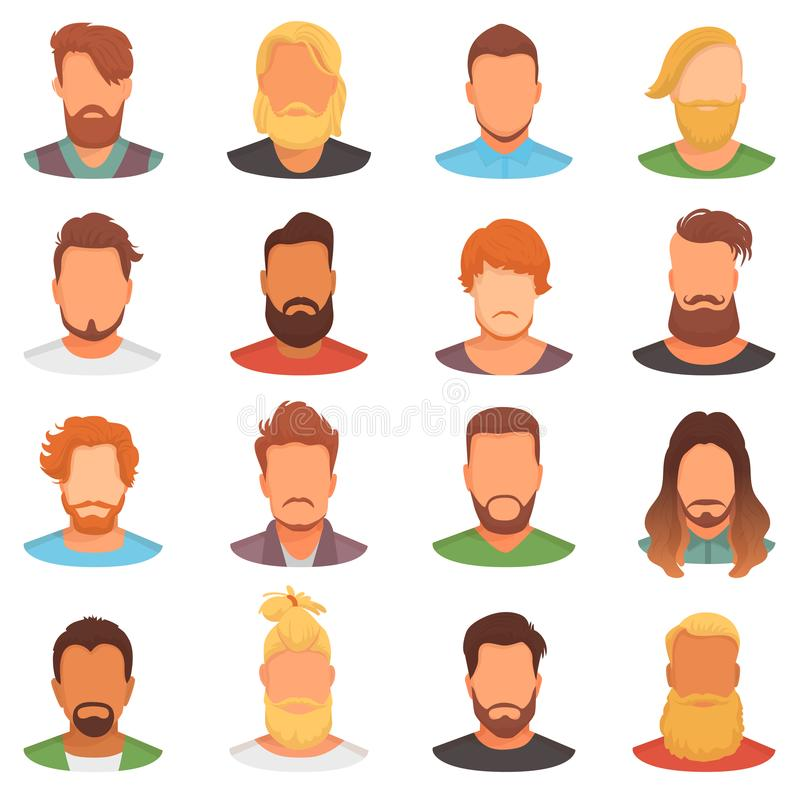 Beards vector portraite of bearded man with male haircut in barbershop and barbed mustache on hipsters face illustration. Set of barber hairstyle isolated on stock illustration